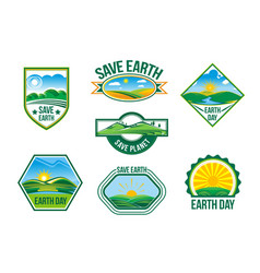 save earth nature ecology badges set vector image