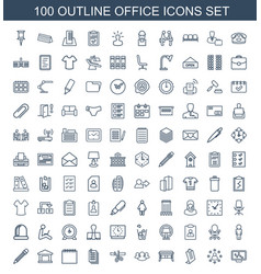 100 office icons vector