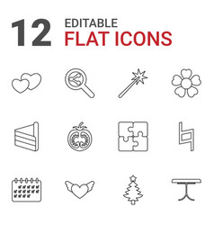 12 abstract icons vector image