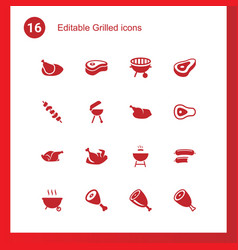 16 grilled icons vector