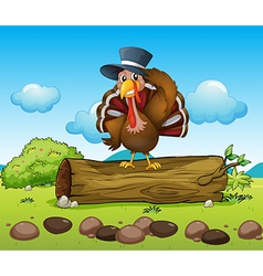 A turkey above a log vector