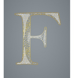 Abstract golden letter F vector image