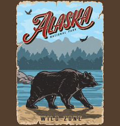 alaska national park colorful vintage poster vector image