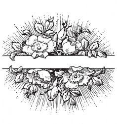 Antique flowers banner engraving vector