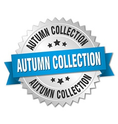 autumn collection 3d silver badge with blue ribbon vector image