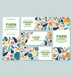 banner vegetables fresh vegetable menu organic vector image