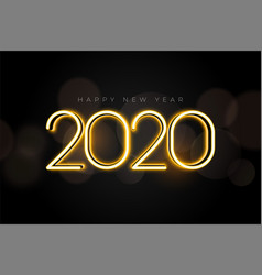 beautiful glowing 2020 new year lights background vector image