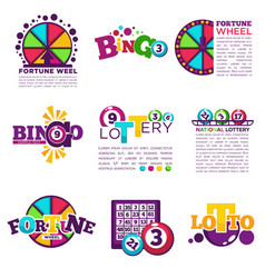 bingo lotto lottery win icons set jackpot vector image