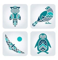 Birds mosaic icons vector