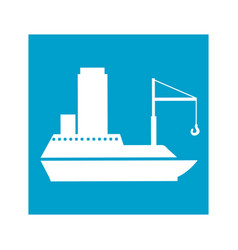 blue square frame with tanker cargo ship with vector image