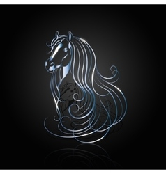 Blue steel abstract horse vector