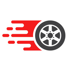 Bolide car wheel with fast speed effect vector