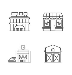 buildings pixel perfect linear icons set vector image