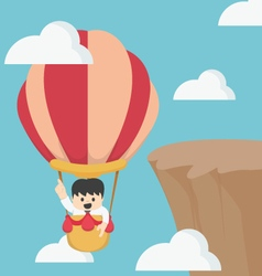 Businessman in hot air balloon fly vector