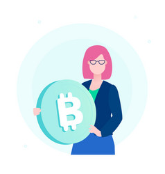 businesswoman with bitcoin - flat design style vector image
