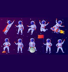 Cartoon astronaut cosmonaut waving hand holding vector