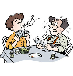 Cartoon of two men playing poker vector
