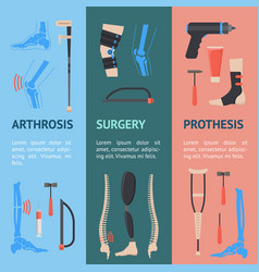 Cartoon orthopedic banner vecrtical set vector