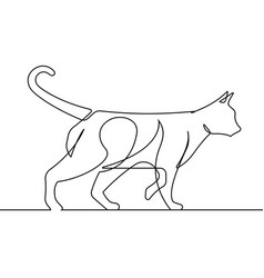 cat walking continuous line vector image