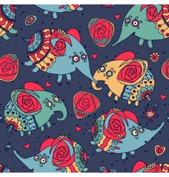 Cheerful seamless pattern with elephants and roses vector image