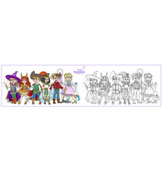 children in carnival costumes wizard egyptian vector image