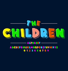 children is font in cartoon style kids set vector image