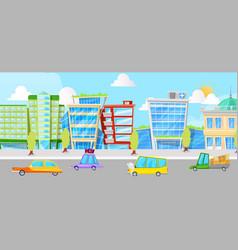 city street with cartoon cars panorama vector image