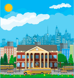 classical school building and cityscape vector image
