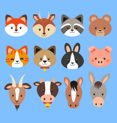 collection cute flat design animal heads vector image