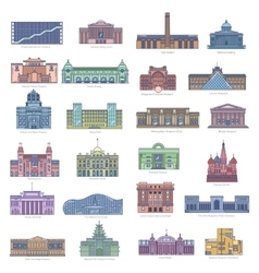 Collection of landmarks for traveling and tourism vector