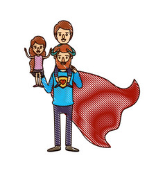 color crayon stripe cartoon full body super dad vector image