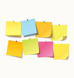 colored sheets of note papers with push pin vector image