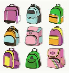 colored teenager school backpacks set vector image