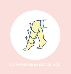 Compression stockings icon line logo flat vector