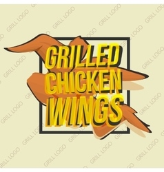 Creative logo design with grilled chicken wings vector image