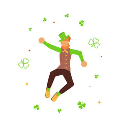 Cute cartoon leprechaun dancing amongst shamrock vector