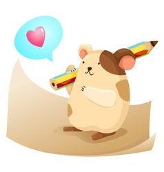 Cute hamster with note paper vector