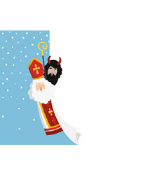 cute hand drawn saint nicholas with devil and vector image