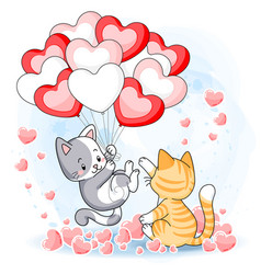 cute kittens playing together with heart air vector image