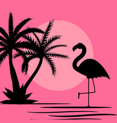 Cute pink flamingo background vector