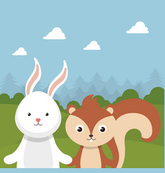Cute rabbit and chipmunk in the field landscape vector