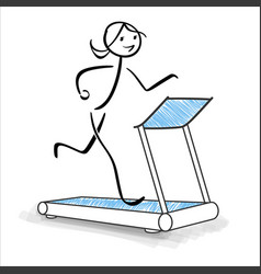 cute sports girl running on treadmill vector image