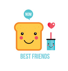 cute toast bread funny cartoon character and vector image