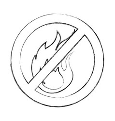 Denied fire flame signal icon vector