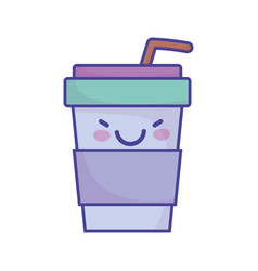 Disposable coffee cup with straw cartoon food cute vector