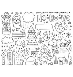 doodles christmas elements monochrome items vector image