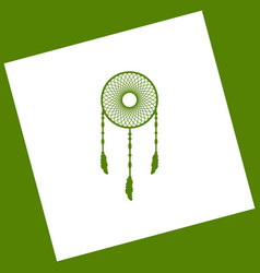 dream catcher sign white icon obtained as vector image