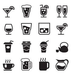 Drinking glass jug cup icons set vector