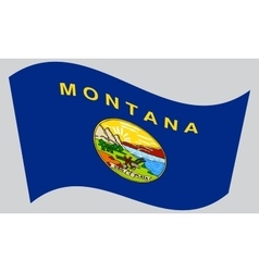 Flag of Montana waving on gray background vector