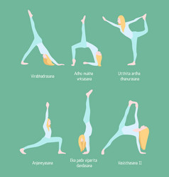 flexible blonde woman yoga set vector image